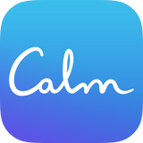 The word calm in white on a blue background
