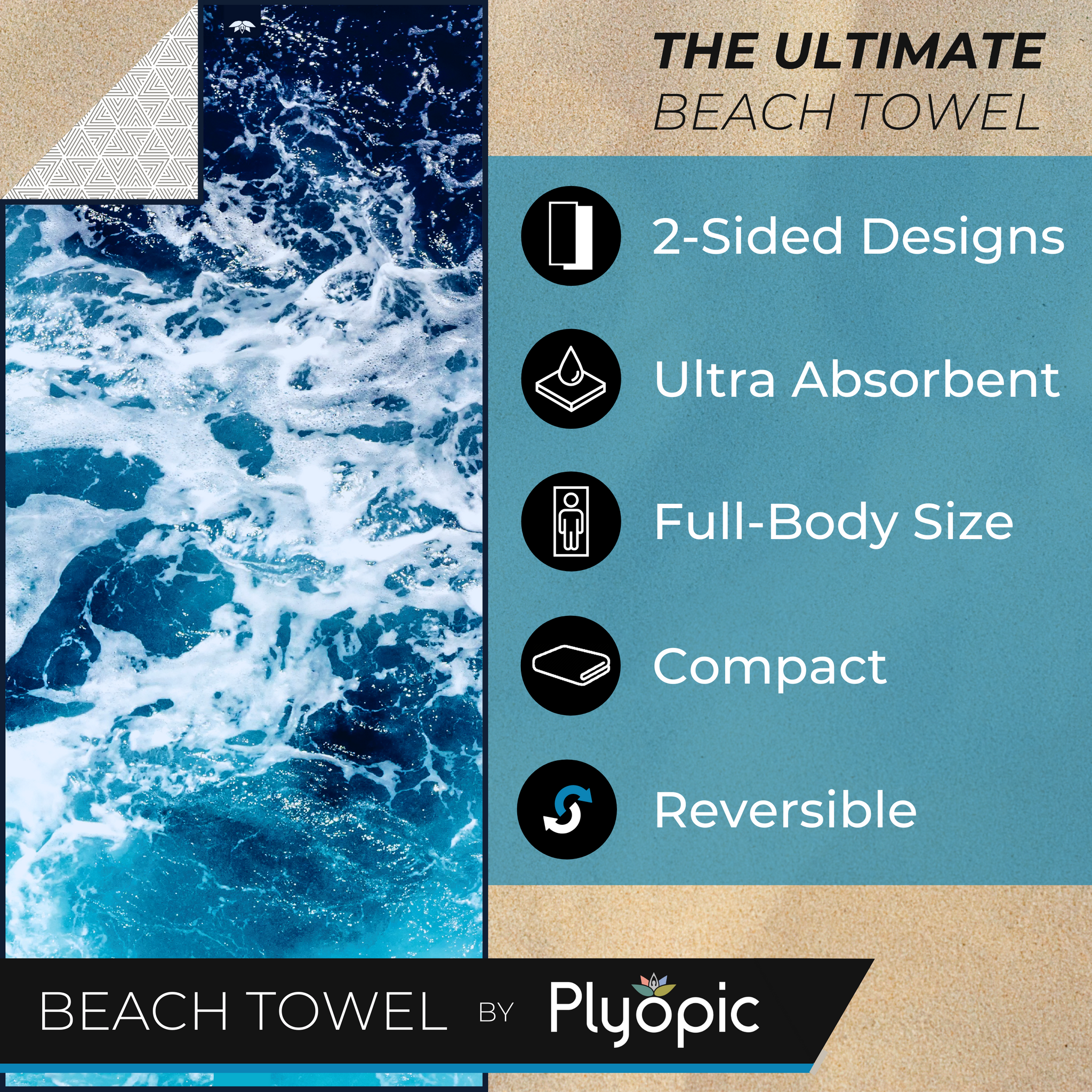 Plyopic Microfiber Beach Towel - Pacific