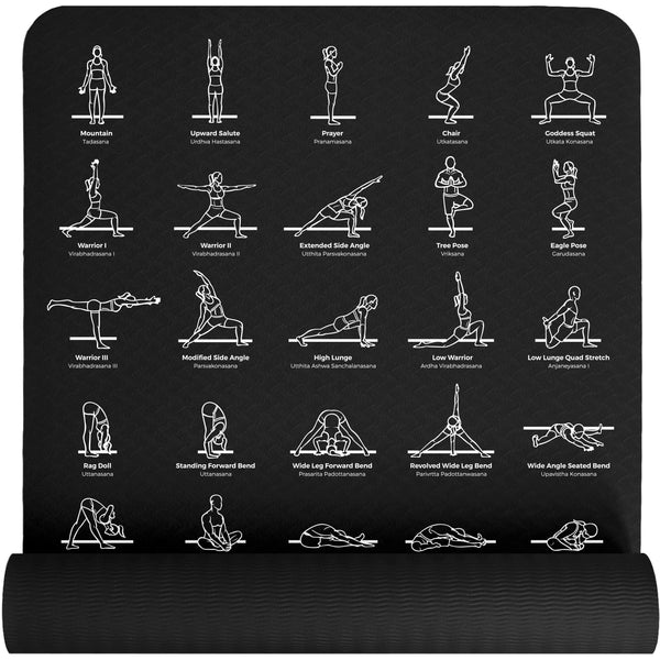 Plyopic Printed Poses Yoga Mat - Black