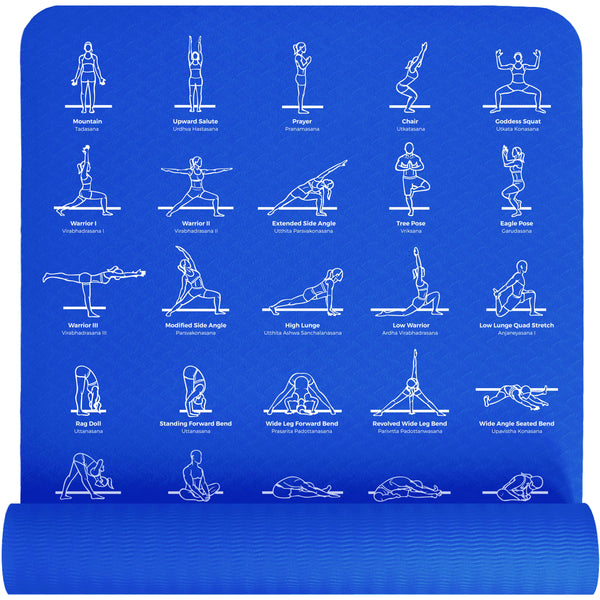 Plyopic Printed Poses Yoga Mat - Blue