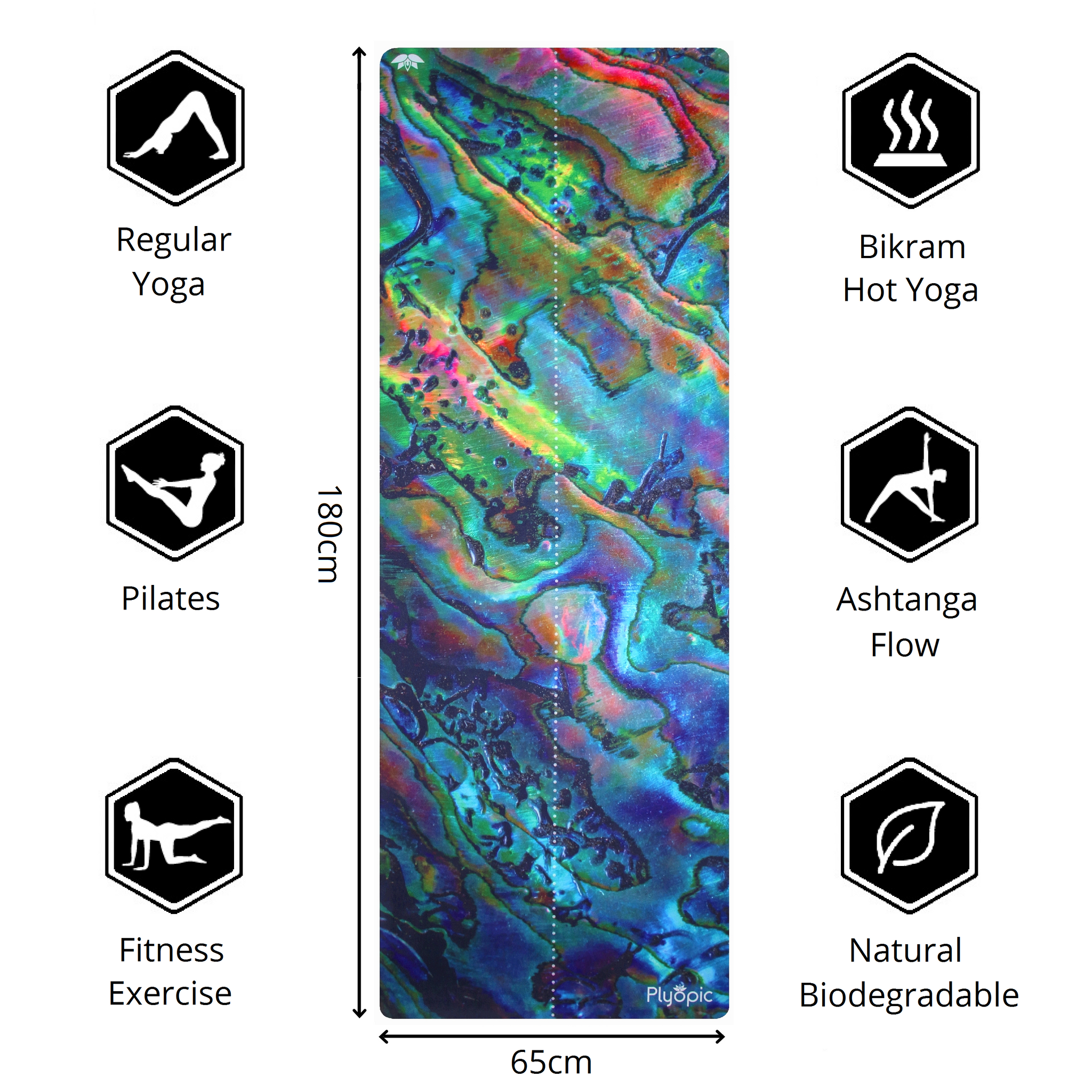 Plyopic-All In One Yoga Mat Haliotis-180cm x 65cm Yoga Mat