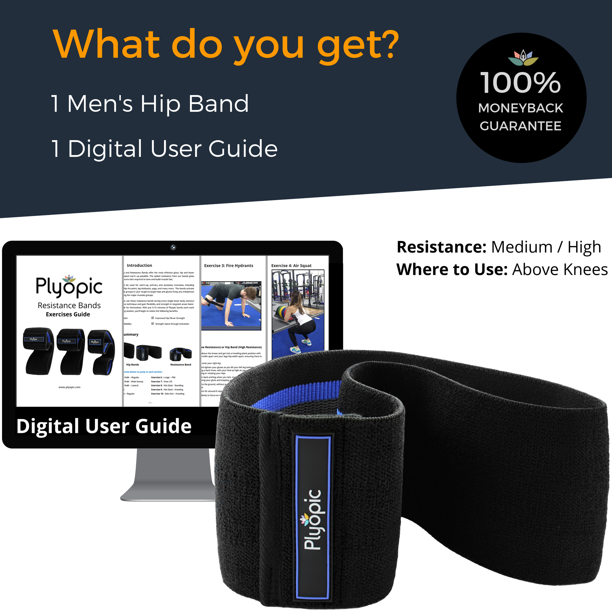 Plyopic-Men's Hip Band (For Upper Legs)-Hip Resistance Band and Digital User Guide