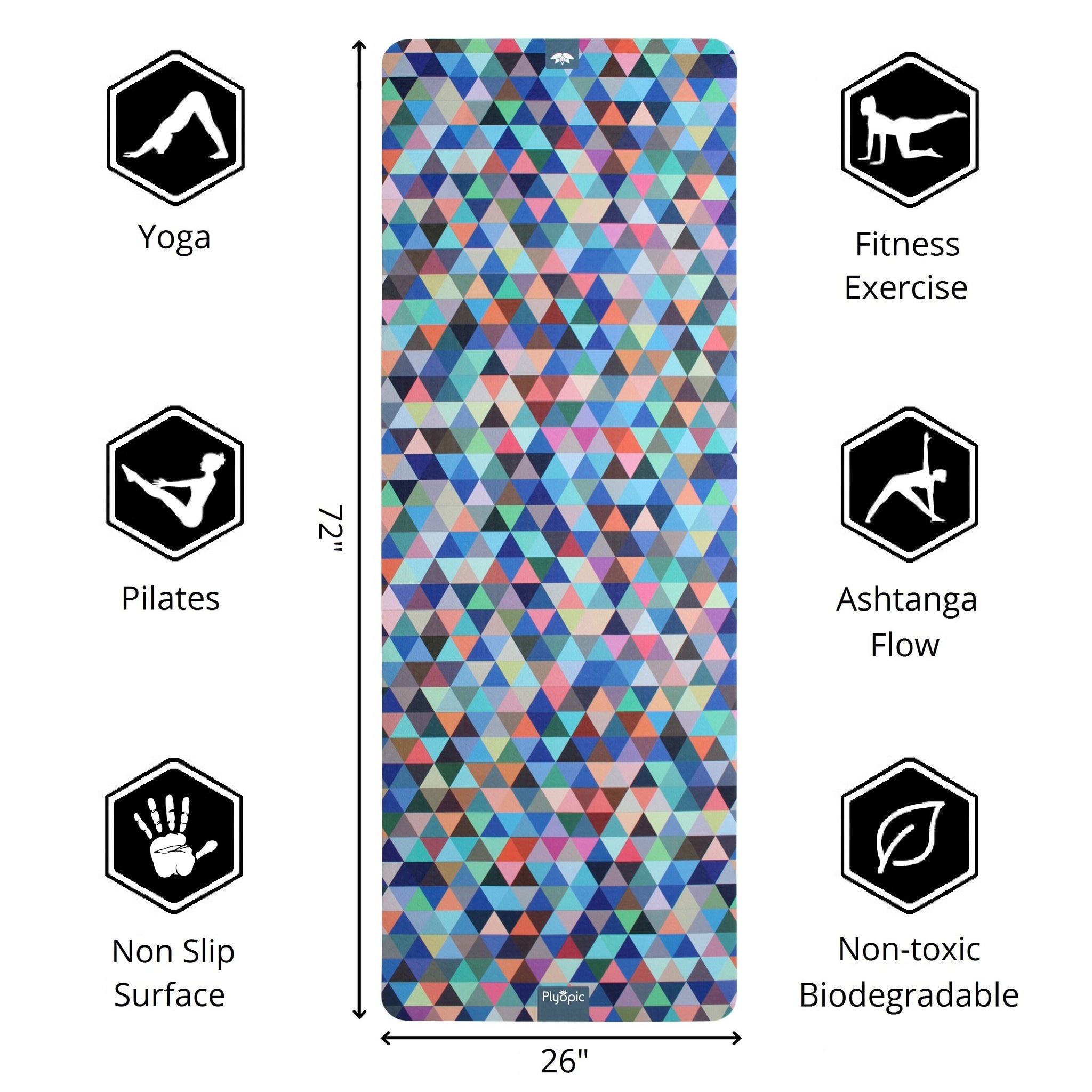 Plyopic-Printed Yoga, Pilates & Exercise Mat - Geometric 72inch x 26inch Yoga Mat