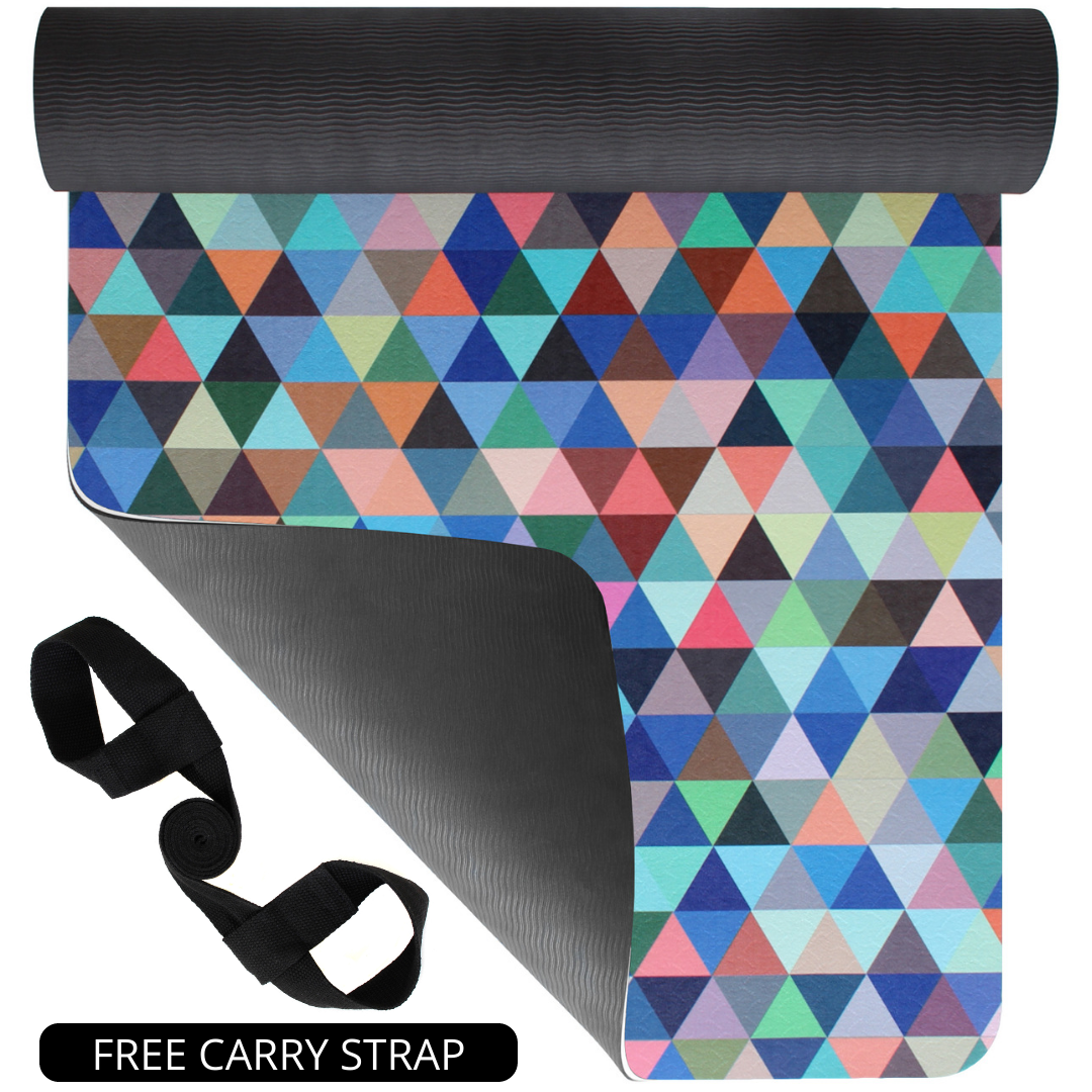Plyopic-Printed Yoga, Pilates & Exercise Mat - Geometric-Yoga Mat With Carrying Strap