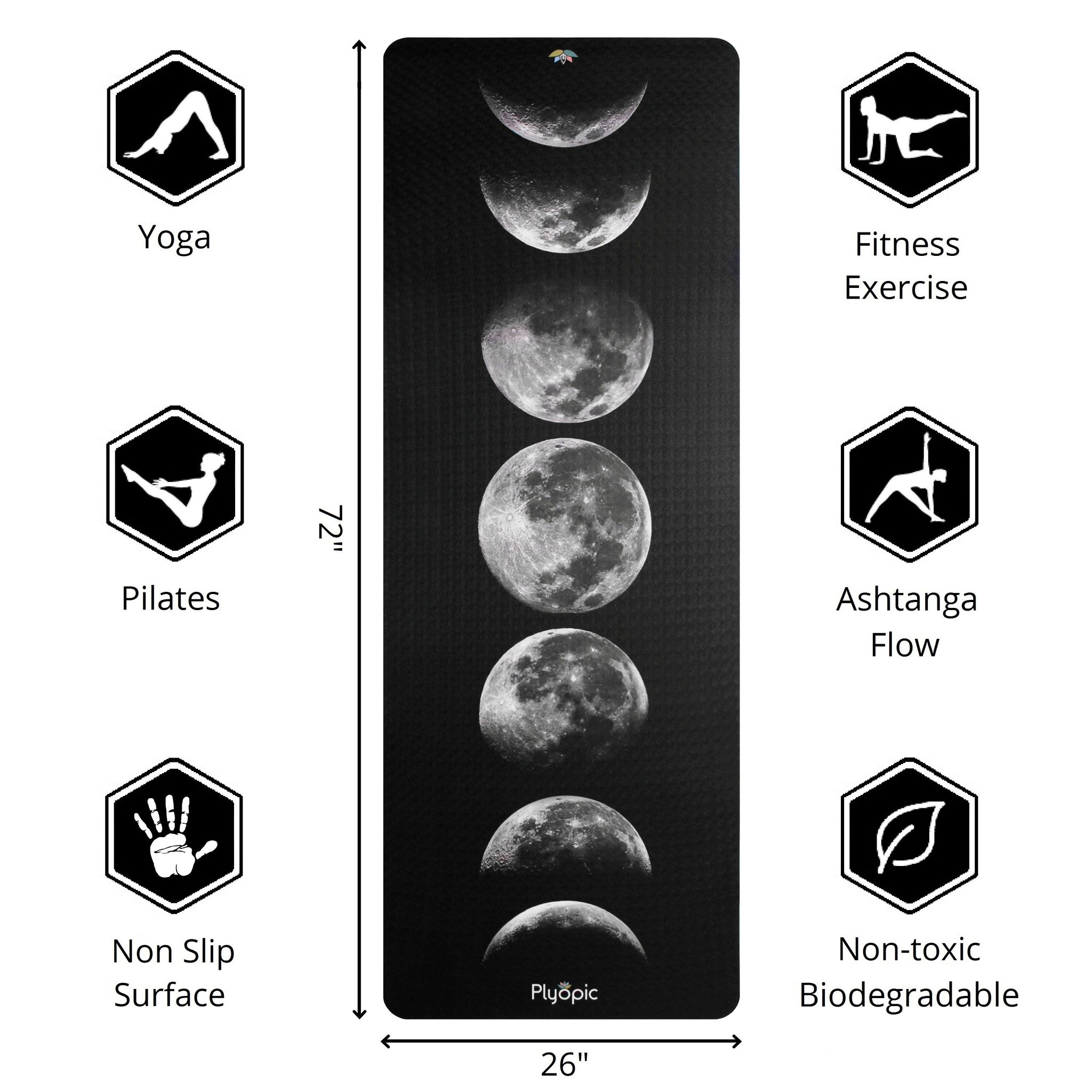 Plyopic-Printed Yoga, Pilates & Exercise Mat - Moon Phases-72inch x 26inch Yoga Mat