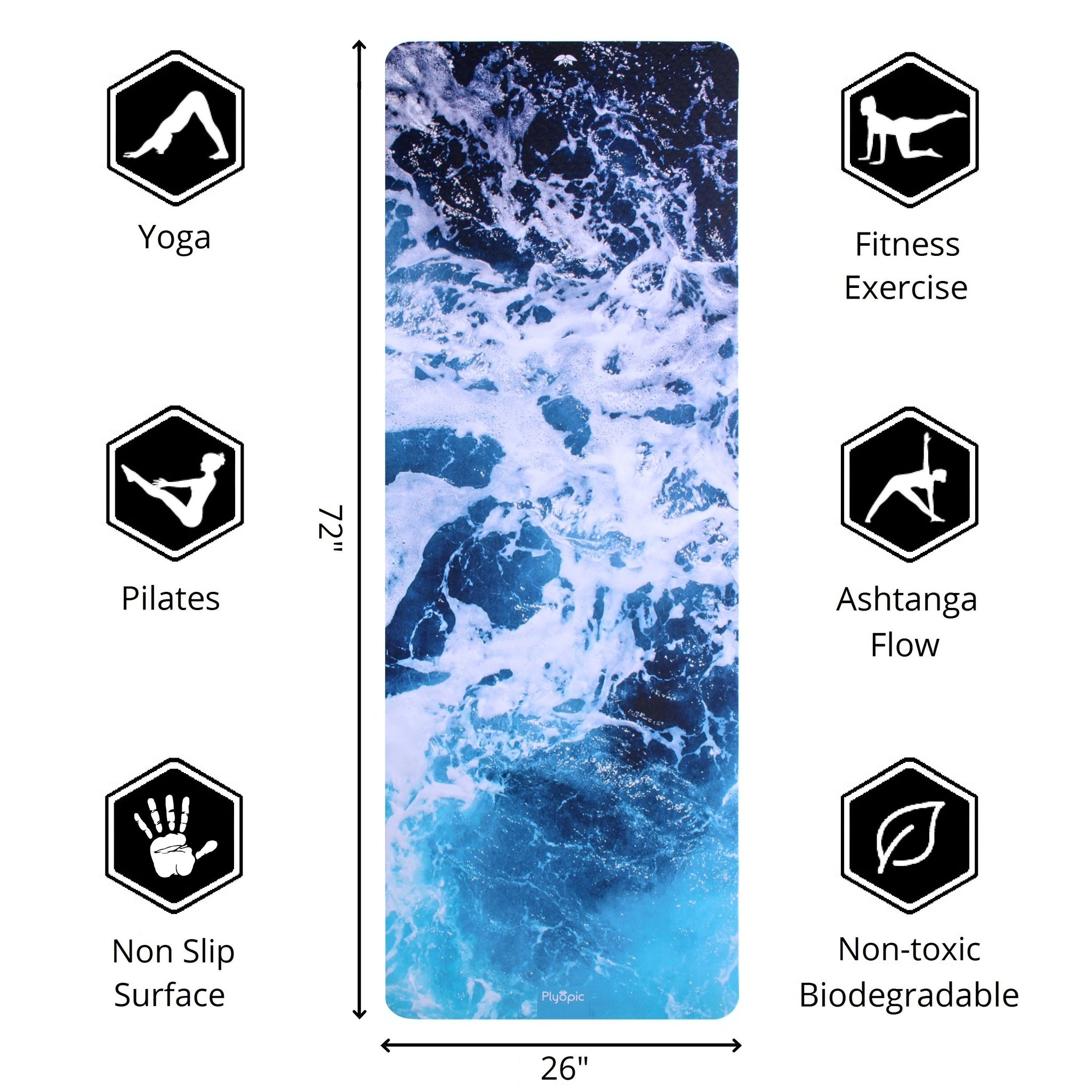 Plyopic-Printed Yoga, Pilates & Exercise Mat - Pacific 72inch x 26inch Yoga Mat