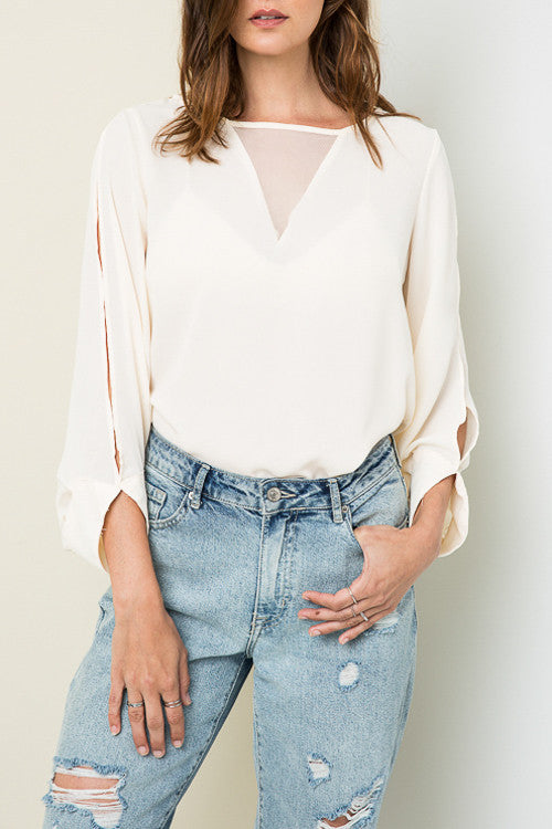 Mesh V Blouse - Shop Sugar Sands