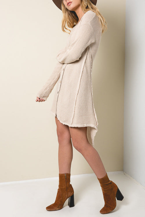 Long Knit Shoulder Cut Out Cardigan - Shop Sugar Sands