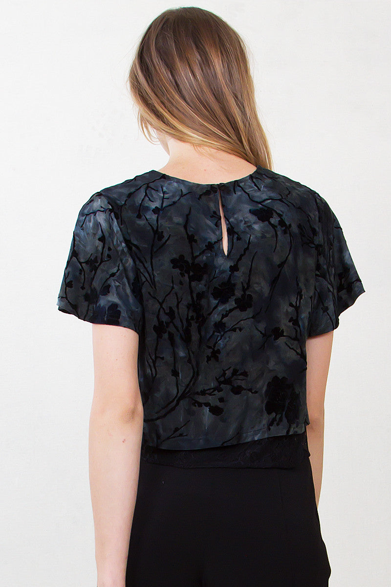 Enchanted Forest Burn Out Velvet Crop Top - Shop Sugar Sands
