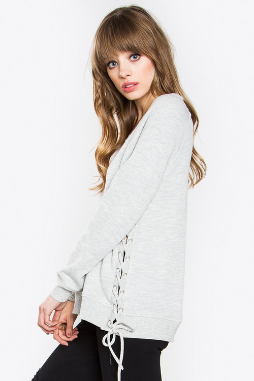 Lace Up Sweatshirt -Shop Sugar Sands