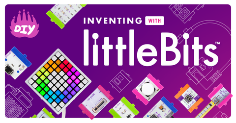 littleBits lined up in a grid on a purple background.