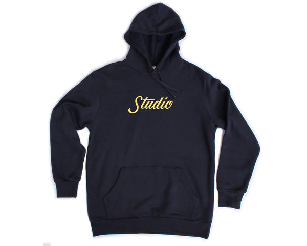 SOLD OUT - Big Script Hoodie - Navy & Light Yellow