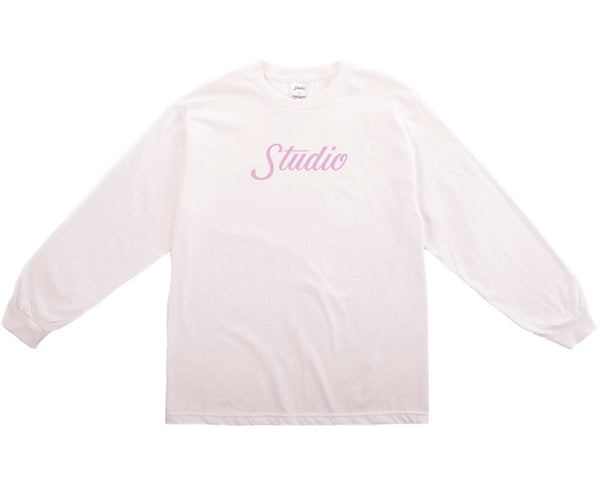 SOLD OUT - Big Script Longsleeve - White & Dusty Pink