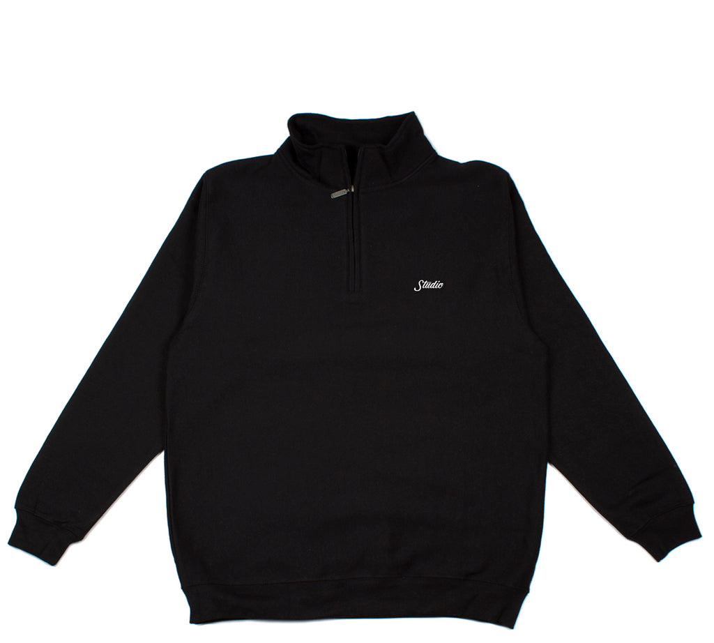 Small Script - 1/4 Zip - Black - SOLD OUT