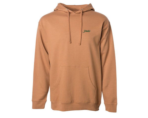 Small Script Pullover Hoodie - Dark Tan w/forest