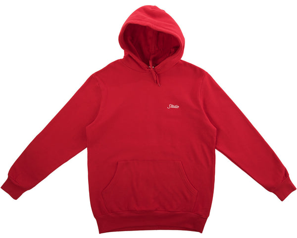 Small Script Pullover Hoodie - Red