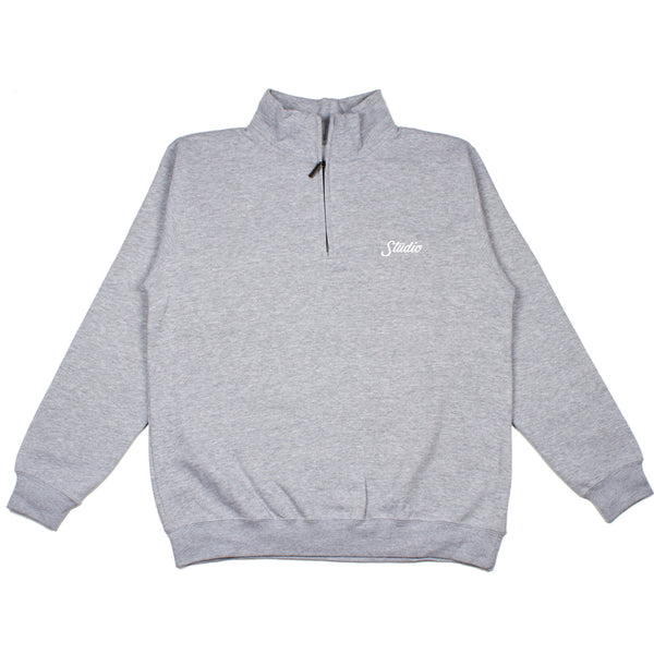 SOLD OUT - Small Script Quarter Zip Pullover - Heather Grey