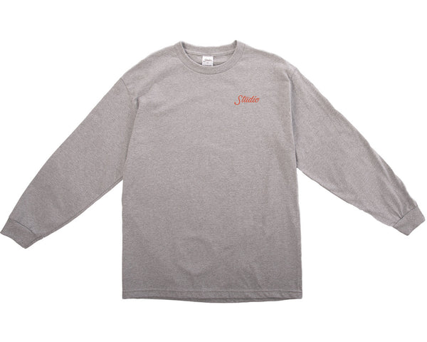 Small Script Longsleeve Tee - Heather Grey - Orange
