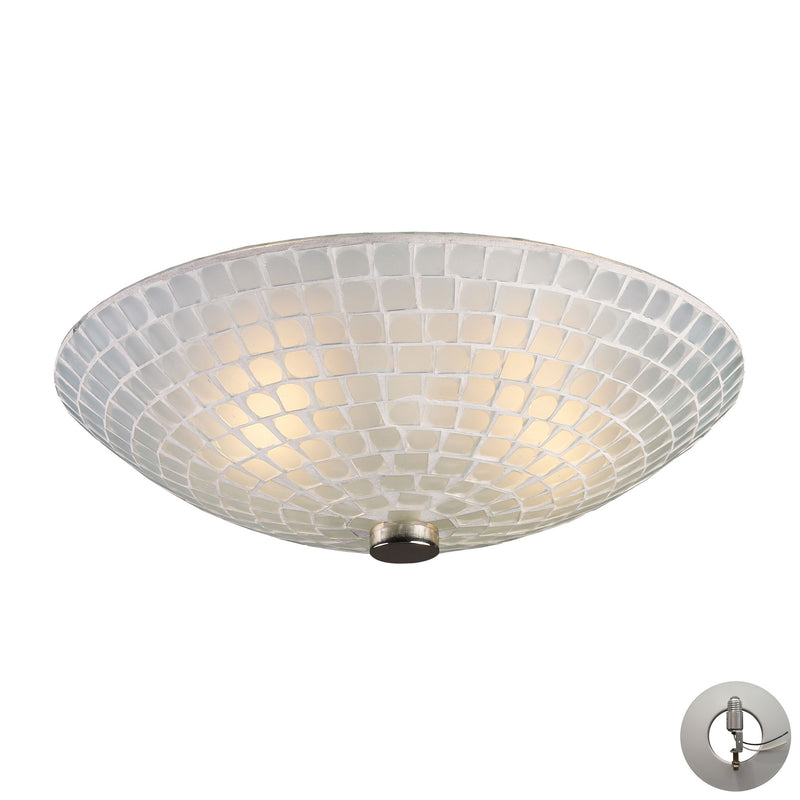 Fusion 2-Light Semi Flush in Satin Nickel with White Mosaic Glass - Includes Adapter Kit ELK Lighting-Lamporia