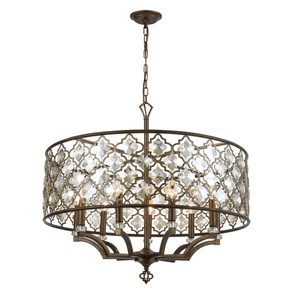 Armand 9-Light Chandelier in Weathered Bronze with Amber Teak Crystal ELK Lighting-Lamporia