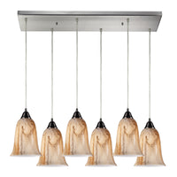 Granite 6-Light Rectangular Pendant Fixture in Satin Nickel with Marbleized Amber Glass ELK Lighting-Lamporia
