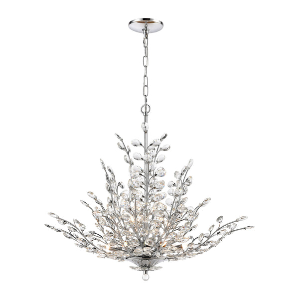 Crystique 9-Light Chandelier in Polished Chrome with Clear Crystal ELK Lighting-Lamporia