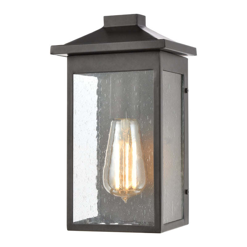 Lamplighter 1-Light Sconce in Matte Black with Seedy Glass ELK Lighting-Lamporia