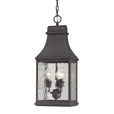 Forged Jefferson 3-Light Outdoor Pendant in Charcoal ELK Lighting