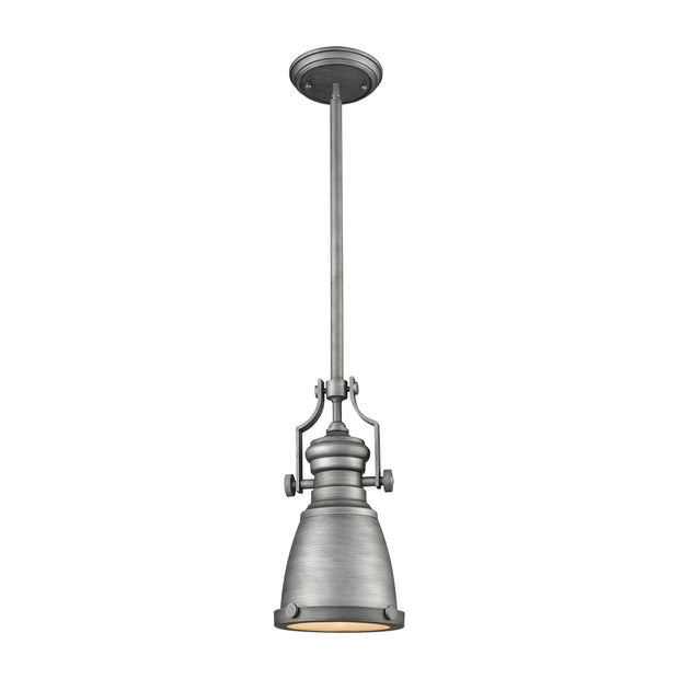 Chadwick 1-Light Mini Pendant in Weathered Zinc with Metal Shade - Includes Adapter Kit ELK Lighting