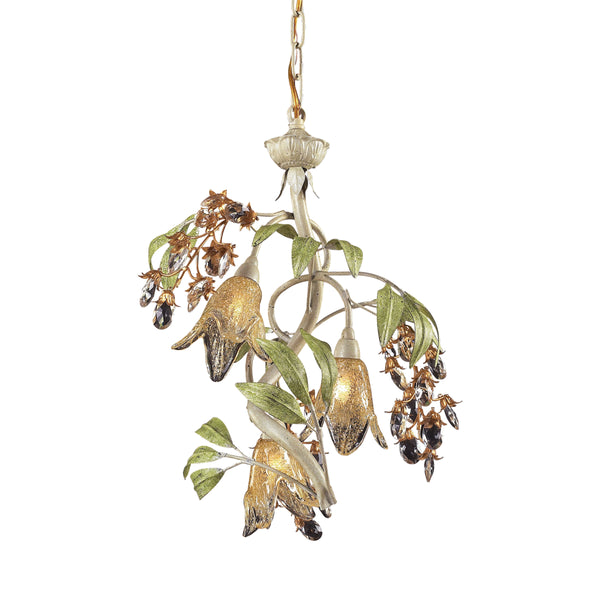 Huarco 3-Light Chandelier in Seashell and Sage Green with Floral-shaped Glass ELK Lighting-Lamporia