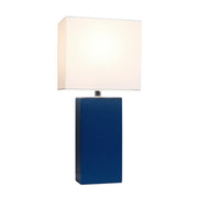 Modern Leather Table Lamp with White Fabric Shade, Blue Table Lamps All The Rages