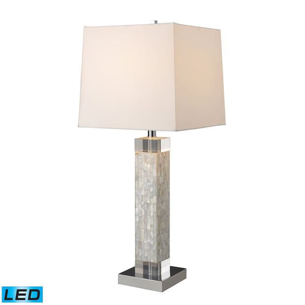 Luzerne LED Table Lamp In Mother of Pearl With Milano Off White Shade Dimond Lighting Table Lamp Dimond Lighting