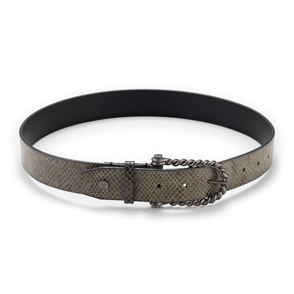 Hannah Childs - Python Belt - Gunmetal - Quail Hollow Tack