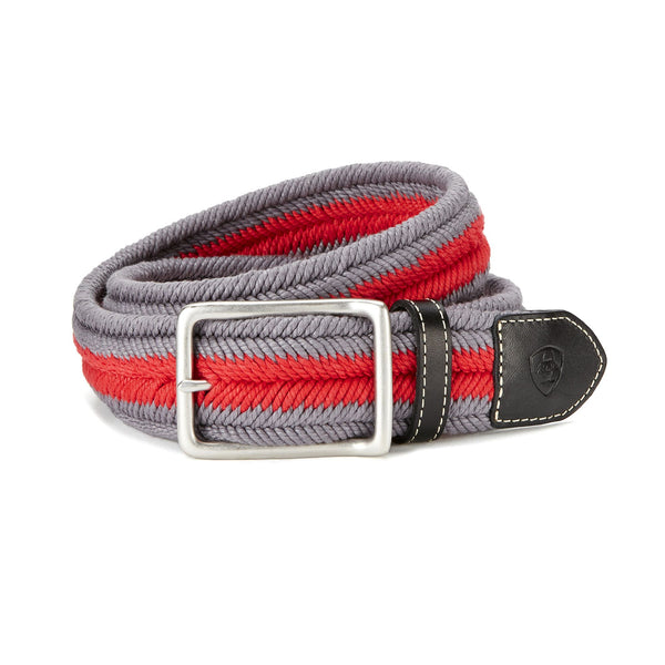 Ariat - Three Rail Woven Belt - Grey/Flame - Quail Hollow Tack