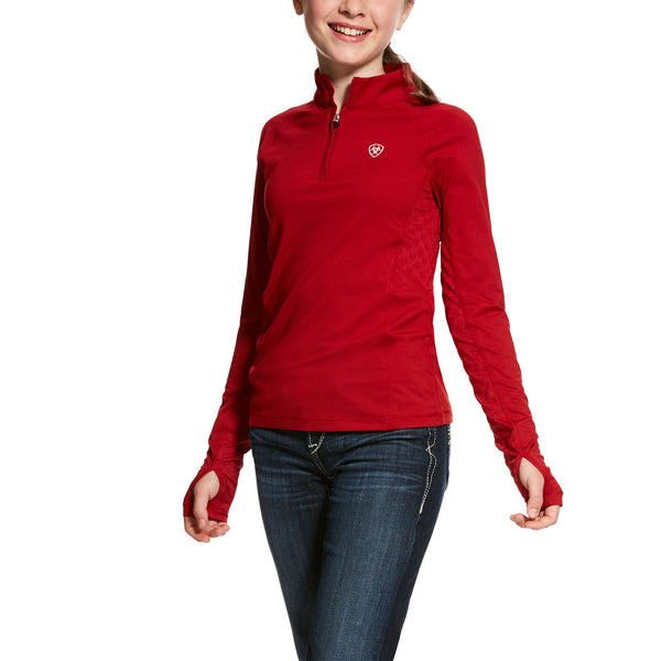 Ariat - Girls Lowell 2.0 1/4 Zip Baselayer - Laylow Red - Quail Hollow Tack