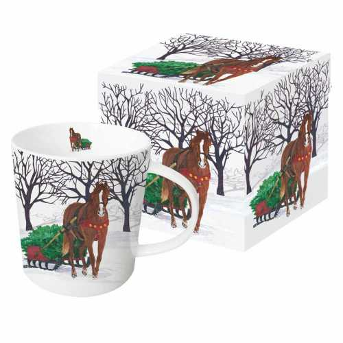 Paper Products Design - Winter Sleigh Mug with Gift Box - Quail Hollow Tack