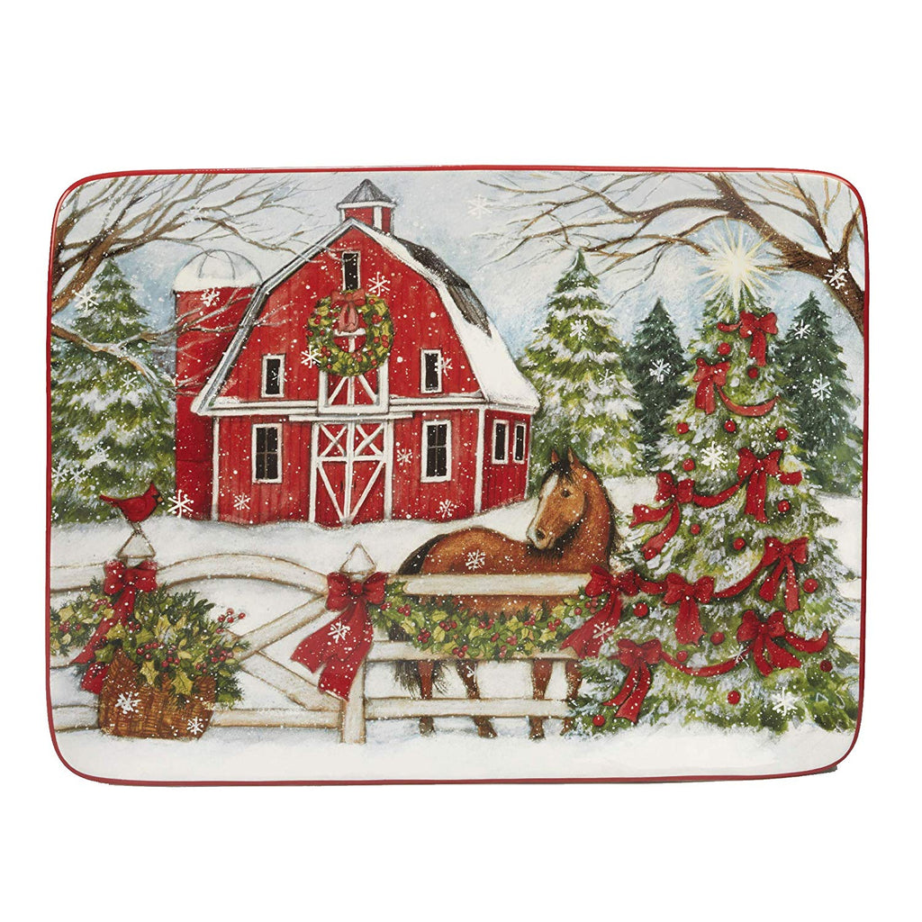 "Certified International - Christmas on the Farm - 16""x 12"" Platter - Quail Hollow Tack"