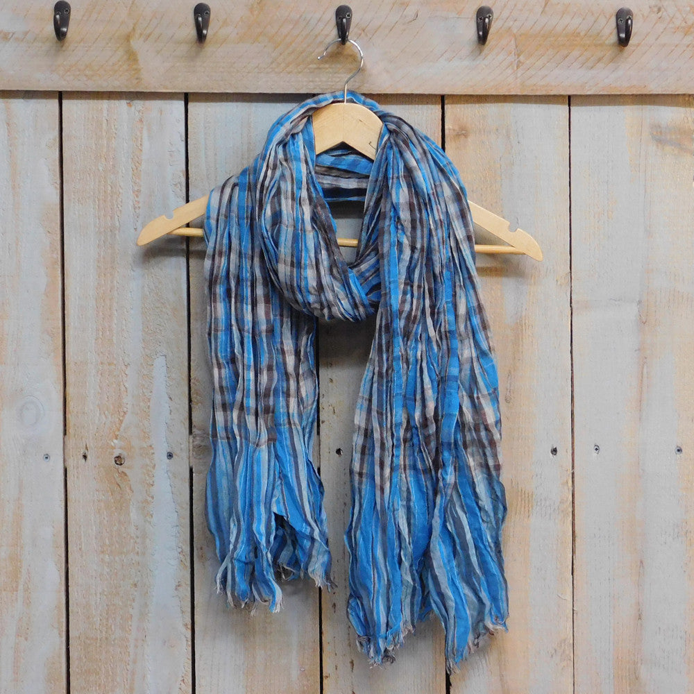 Tickled Pink - Feather Fringe Plaid Scarf - Teal - Quail Hollow Tack
