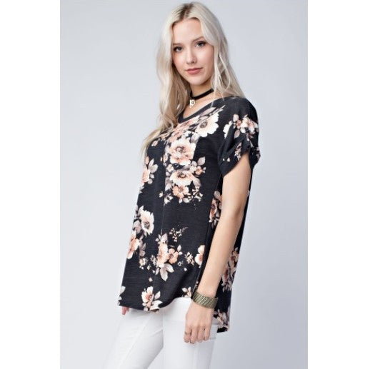 Pleated Floral V-Neck Shirt