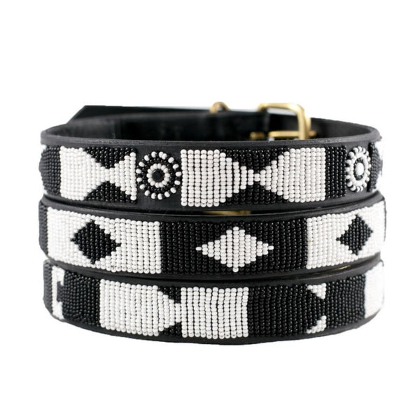 The Kenyan Collection - Beaded Dog Collar - Ebony and Ivory - Quail Hollow Tack