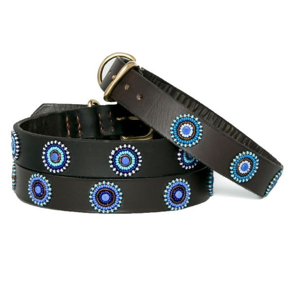 The Kenyan Collection - Beaded Dog Collar - Blue Circles - Quail Hollow Tack