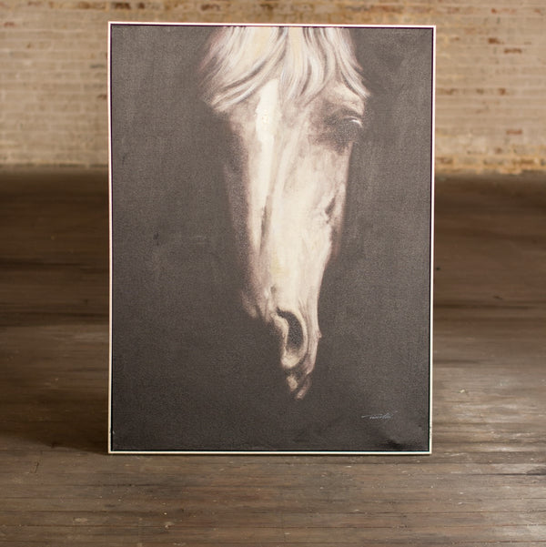 Kalalou - Black And White Horse With Silver Frame - Oil Painting - Quail Hollow Tack