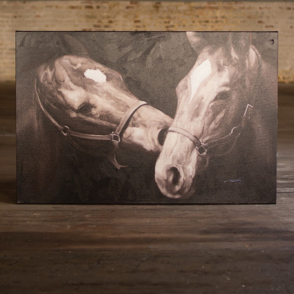 Kalalou - Black And White Kissing Horses - Oil Painting - Quail Hollow Tack