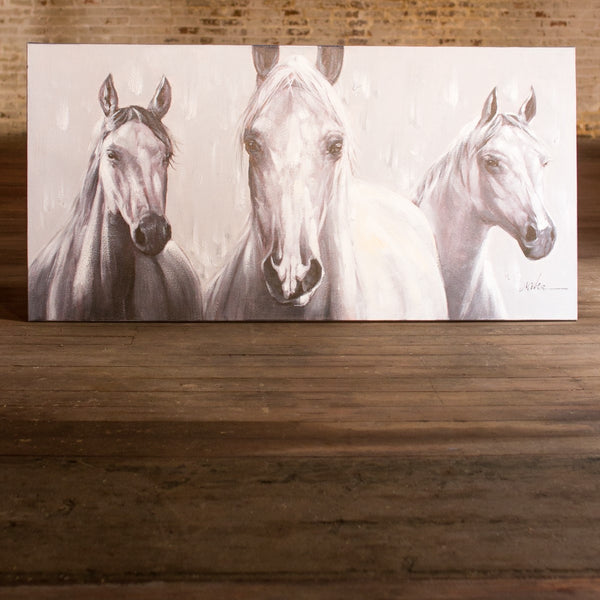Three Black And White Horses - Oil Painting