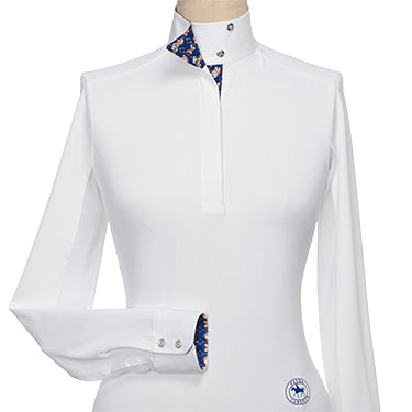 Ladies Papillon Talent Yarn Wrap Collar Shirt - Navy and Gold