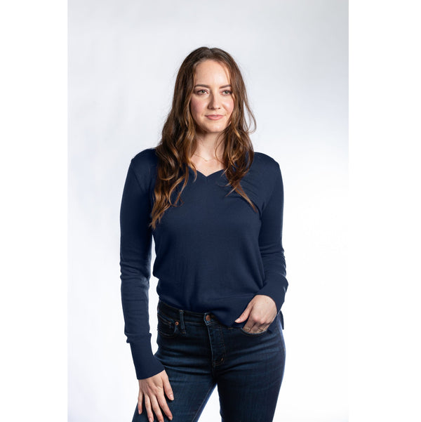 Hannah Childs - Angelina V-Neck Sweater - Midnight - Quail Hollow Tack