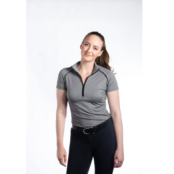 Hannah Childs - Haven Short Sleeve Zip Top - Pitch Black Herringbone - Quail Hollow Tack
