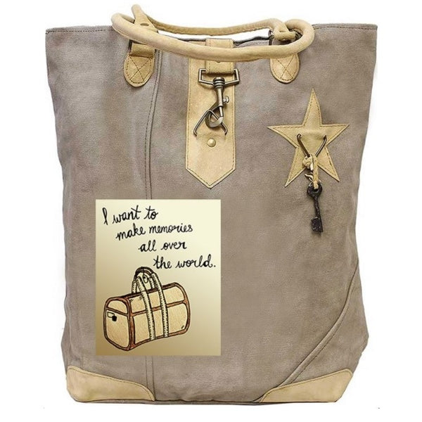Memories All Over The World Canvas Tote