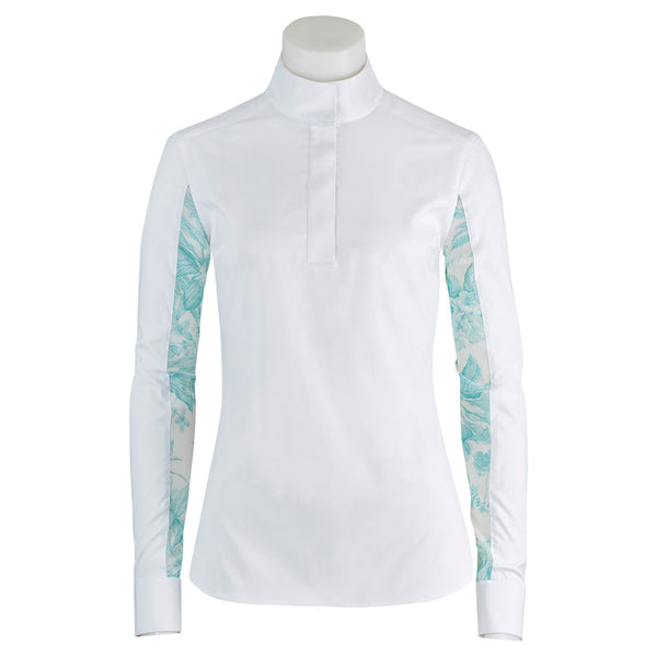 RJ Classics - Ladies Lauren Show Shirt - Aquamarine Floral - Quail Hollow Tack