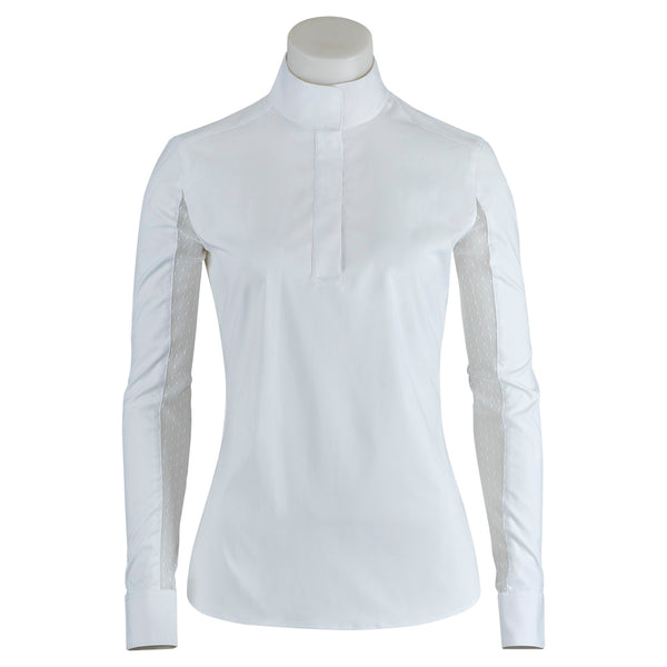 RJ Classics - Ladies Lauren Show Shirt - White Swiss Dot - Quail Hollow Tack